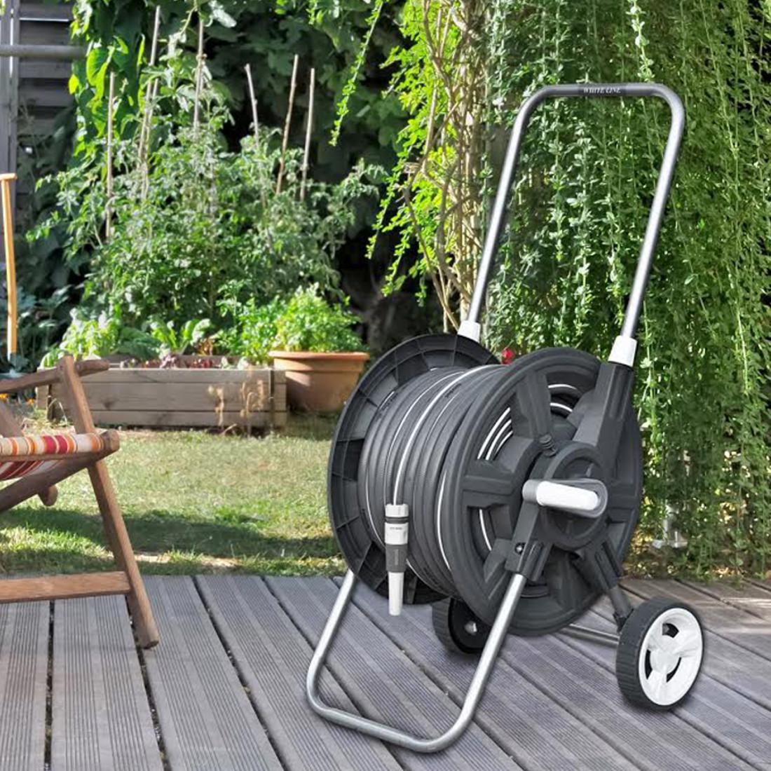 8 tlg profi schlauchwagen set white silver gartenschlauch gartenschlauchwagen. Black Bedroom Furniture Sets. Home Design Ideas