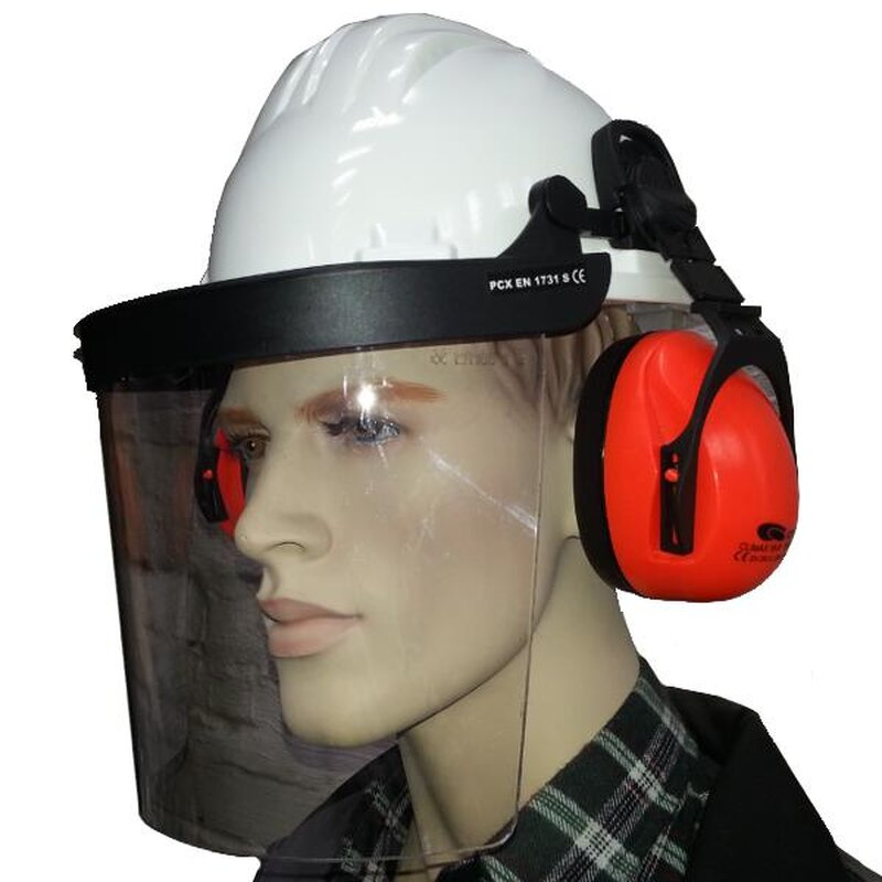 Gehörschutz Forstschutzhelm Forsthelm Schutzhelm Arbeitsschutz Gesichtschutz Neu